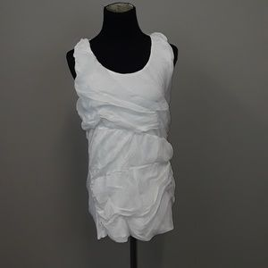 Olivia Moon White ruched top size medium.